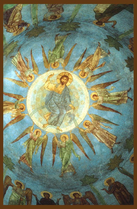 Вознесение Господне.  Середина XI в. Фреска.