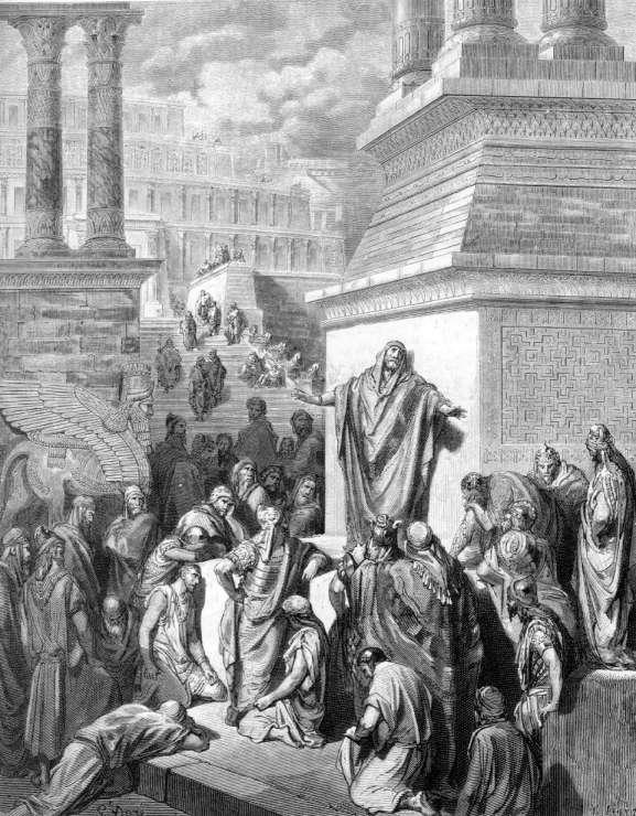 Г. Доре.  Пророк Иона призывает ниневитян к покаянию.