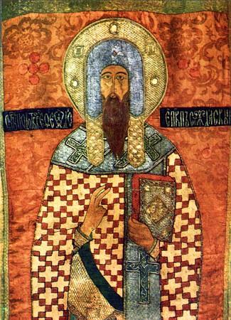 Святитель Феодор, епископ Ростовский и Суздальский.  Шитая икона, XVI в.
