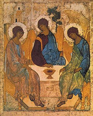 Живоначальная Троица. Икона написана преподобным Андреем Рублевым. 1410-1427 гг.