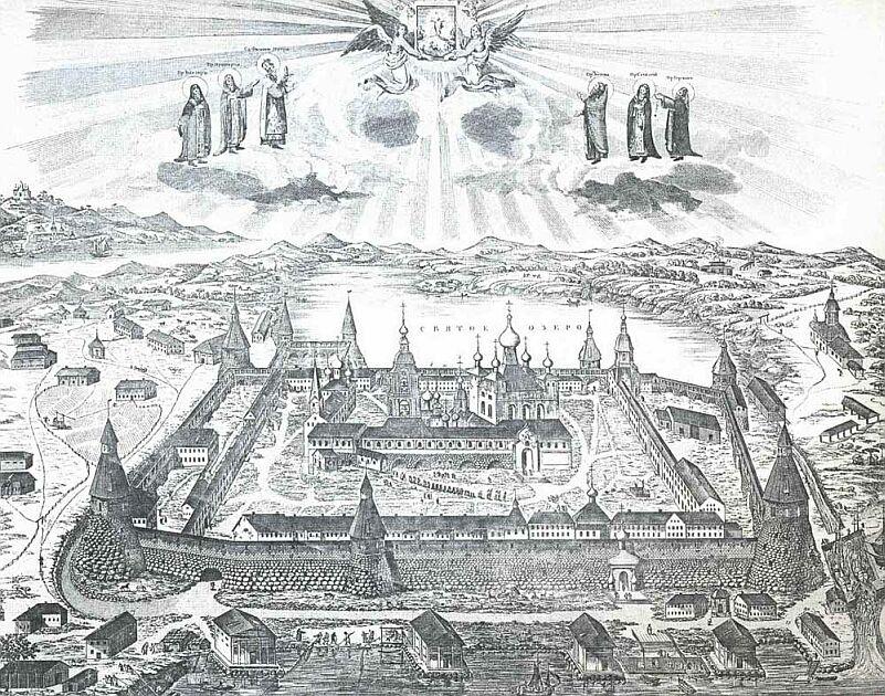 Соловецкий монастырь, гравюра Д.А. Ровинского